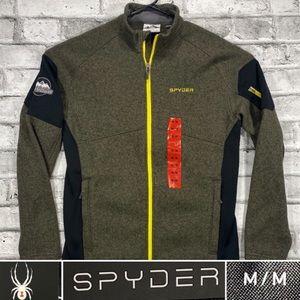 NEW Spyder Mens Sz M Full Zip Fleece Jacket Olive